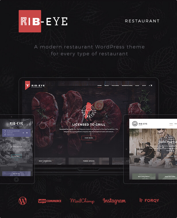 RIB-EYE: A modern restaurant WordPress theme for every type of restaurant
