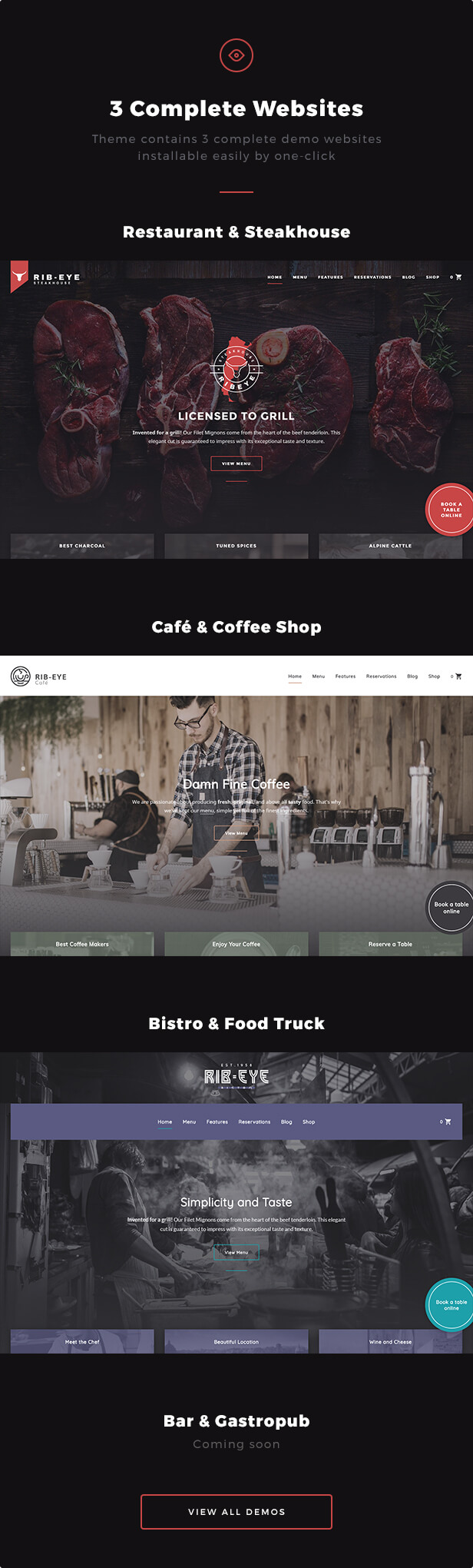 3 Complete Websites: Theme contains 3 complete demo websites installable easily by one-click - Restaurant & Steakhouse, Café & Coffee Shop, Bistro & Food Truck