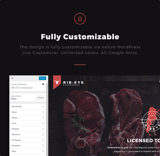 Fully Customizable: The design is fully customizable via native WordPress Live Customizer. Unlimited colors, all Google fonts.  Download Rib-Eye — Steakhouse WordPress Theme nulled 05 ribeye fully customizable