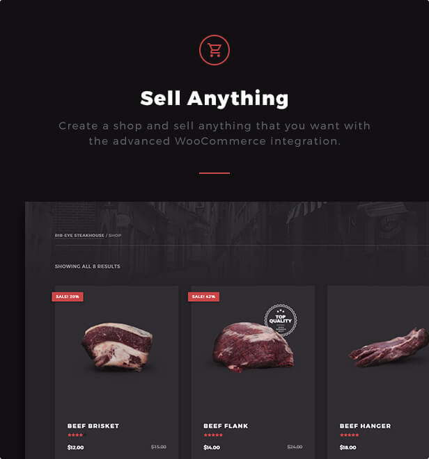 Sell Anything: Create a shop and sell anything that you want with the advanced WooCommerce integration.  Download Rib-Eye — Steakhouse WordPress Theme nulled 14 ribeye sell anything with woocommerce
